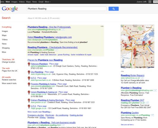 Google Search - Plumbers Reading