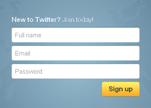 Twitter homepage form