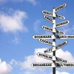 Signpost with online marketing terminology