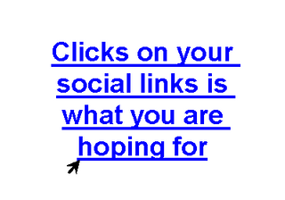 Clicks on your social links is what you are hoping for