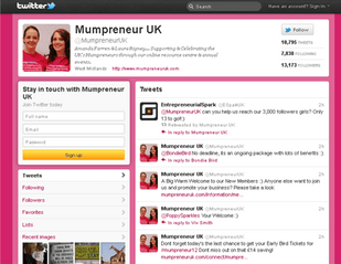 The Twitter site of @MumpreneurUK