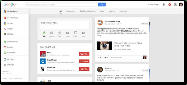 Google+ drop-down list