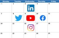 Image of calendar with social media icons