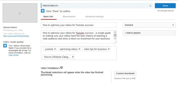 YouTube upload basic info screenshot