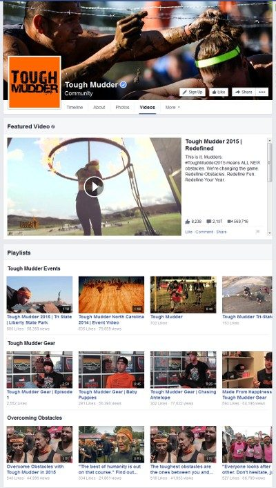 Tough Mudder shares plenty of video on Facebook