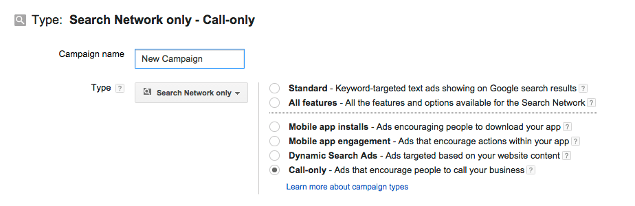 Call-only feature in AdWords