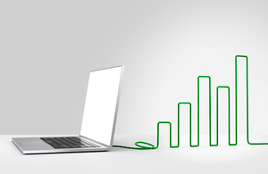 Image of laptop with growth chart