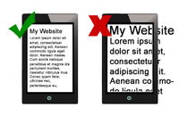 Image of mobile phone showing a website