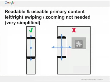 Slide taken from video above: A mobile site should fit width-ways on the screen, text should be easy to read - no pinching or excessive scrolling should be needed.