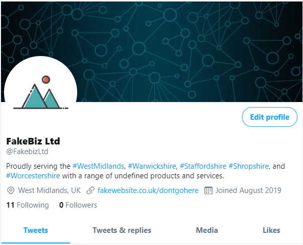 This is what FakeBiz's profile looks now we've added graphics and details.