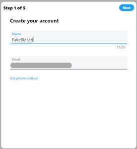 Twitter set up - step 1