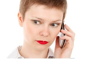 Businesswoman calling to chase payment