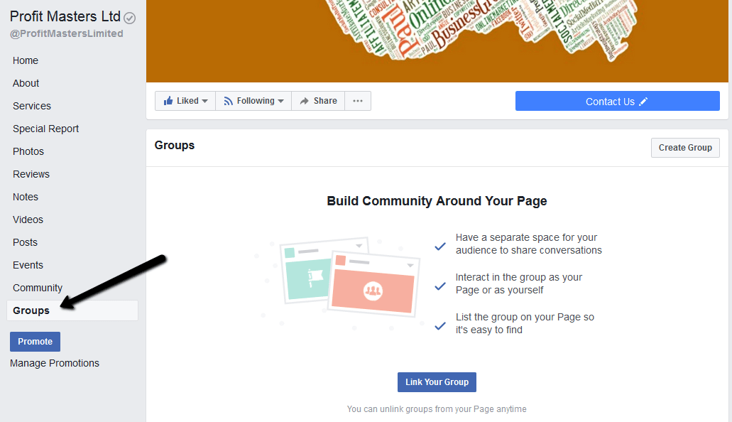 Linking Facebook Page To A Group