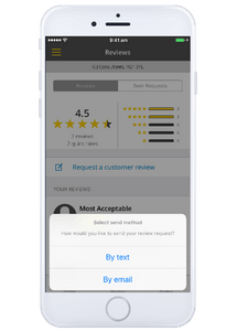 Request reviews on the yell for business app