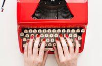 Image of red typewriter