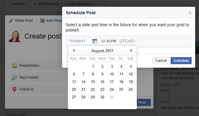 Facebook Group Schedule Post Popup