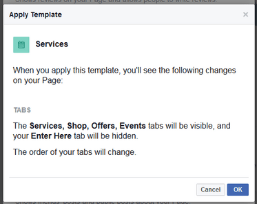 Facebook Page Template Warning