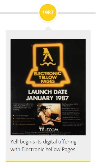 1987 - Yell begins its digital offering with Electronic Yellow Pages