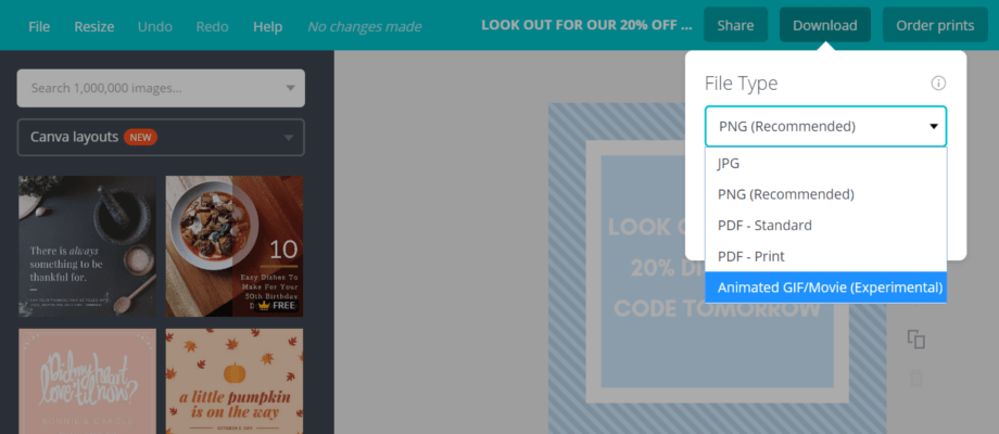 Downloading a GIF from Canva