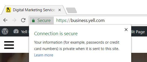 Screenshot of secure website