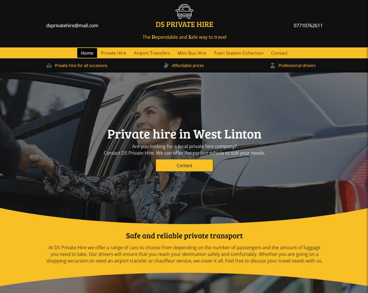 DS Private Hire premium website example from Yell