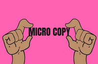 Two hands holding the words 'Micro Copy'