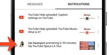 YouTube premiere notification