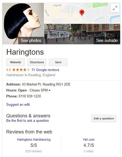 An example of Google's Knowledge Panel