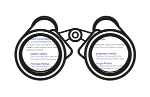 Graphic of binoculars looking at PPC ads in search results