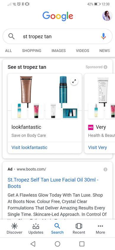 Google Showcase ad