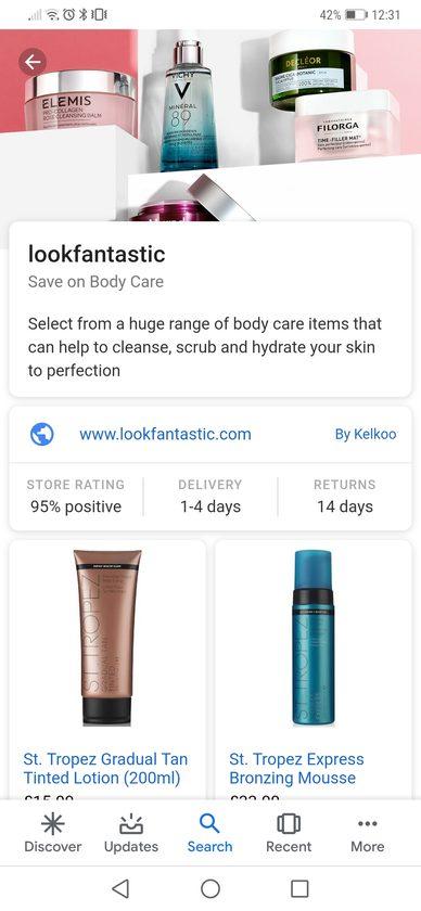 Expanded Google Showcase ad