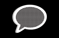 Black and white speech bubble