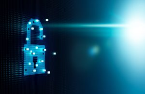 Cube forming digital lock icon, security concept
