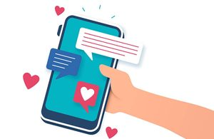 Illustration of hand holding a smartphone showing messages
