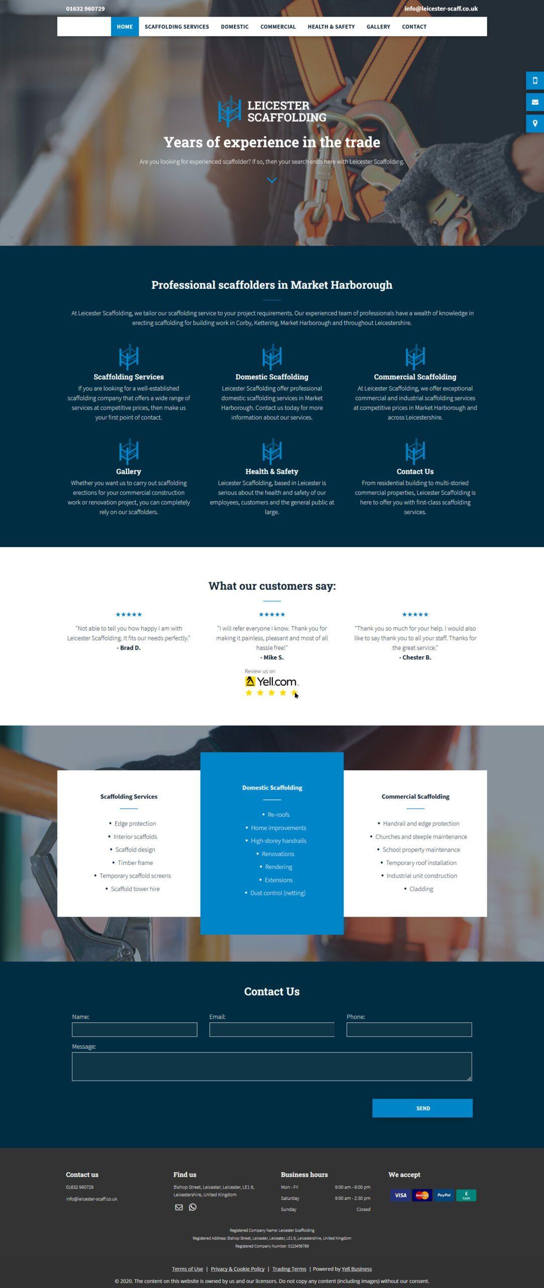 Leicester Scaffolding Advanced Website