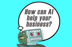 Image of a robot with a thought bubble reading 'How can AI help your business'