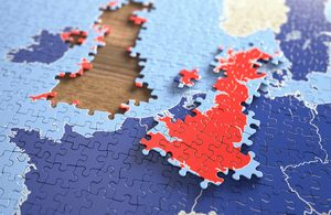 Image of jigsaw puzzle of Europe with the UK removed