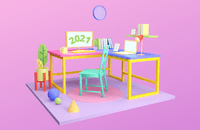 An example of flat-3D graphic design