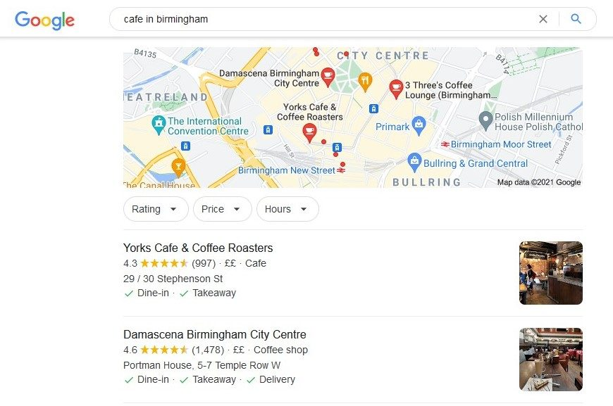 Local SEO: Example of Local Map Pack search results