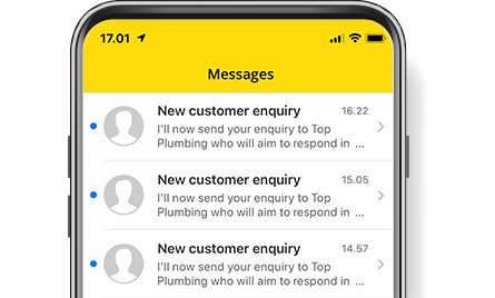 Yell for business app with enquiries