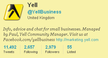YellBusiness Twitter profile page