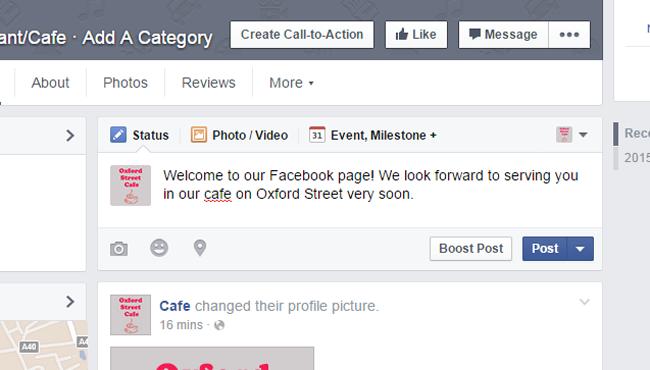 Screenshot of adding a post on Facebook