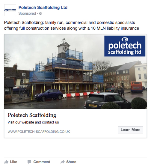 Facebook link advert screenshot