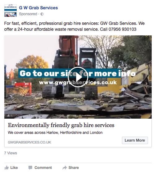 facebook video advert screenshot
