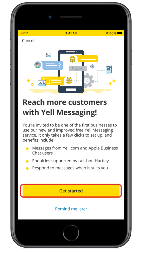 Yell for Business app messaging